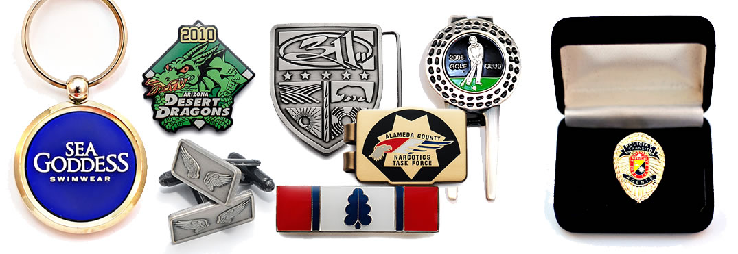 Lapel Pins - Keychains - Cufflinks - Money Clips - Citation Bars - Golf Ball Markers - Belt Buckles - Mini Badges - Custom Trading Pins